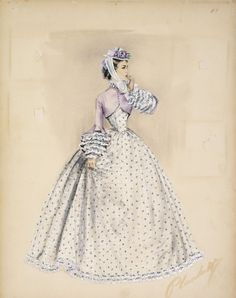 Costume design by Walter Plunkett for Elizabeth Taylor in Raintree County (1957) From the Museum of Brisbane