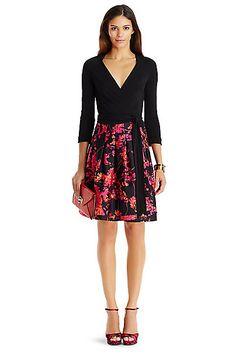 DVF Jewel Silk Combo Dress in Black/ Floral Daze Large Pink