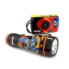 Batman Flashlight & Camera Adventure Kit MULTI by Batman. $18.97. Enhance outdoor adventures with this Batman gear kit! Includes: 35mm Camera: focus free, no batteries, uses any 35mm film. 35mm Camera: focus free, no batteries, uses any 35mm film. Flashlight: illuminates up to 10', uses 2 AA batteries (not included). Ages 5+ Made in China35mm Camera: focus free, no batteries, uses any 35mm film.Flashlight: illuminates up to 10', uses 2 AA batteries (not included).Ages 5+Made in C...