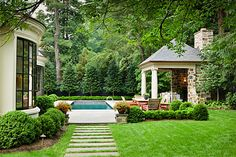 Anne Decker Architects-pretty bay windows, landscaping, pool house