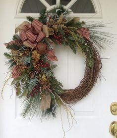 Winter Wreath-Christmas Wreath-Holiday by ReginasGarden on Etsy Primitive Wreath, Primitive Christmas, 1st Christmas, Christmas Crafts, Christmas Decorations, Holiday Decor, Christmas Wreaths For Front Door, Holiday Wreaths, Door Wreaths