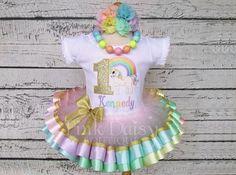 Gold Unicorn Birthday Outfit  Pastel Rainbow Unicorn Tutu Set