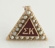 Sigma Kappa Sorority Badge 10K Yellow Gold Seed Pearls Vintage 1983 Triangle | eBay