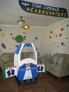 do I already have this one pinned? store-bought buzz boxes, big cardboard spaceship, big pizza planet sign, big sunnyside daycare sign