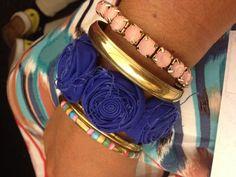 Stack it!---   blueberry cobalt rosette bracelet allora handmade