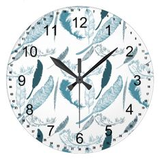 Aqua and White Feathers clock