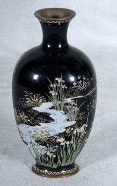 japanese cloisonne | 406: Antique Dark Blue Japanese Cloisonne Vase. Landsc : Lot 406