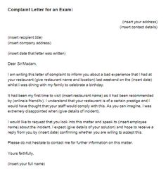 letter writing complaint complaint letter for an exam sample