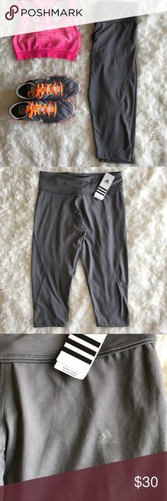 """Adidas Clima Midrise 3/4 Length Leggings Grey Brand new with tag capri leggings. Climalite moisture- wicking fabric. 19"""" inseam. Last photo is to show the fit. adidas Pants Leggings"""