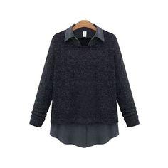 SheIn(sheinside) Black Lapel Plus Blouse ($21) ❤ liked on Polyvore featuring tops, blouses, black, colorblock top, plus size blouses, plus size long sleeve blouse, plus size womens blouses and color block top