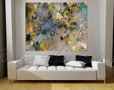 48'' Huge Contemporary Gold Painting, Watercolor Print, Turquoise and Gold, Black and Gold, Modern Art, Watercolor Abstract, Gold Leaf Print