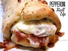 Pepperoni roll up - trying this tonight but little individual ones made with frozen dinner rolls