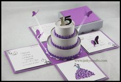 Purple & Silver Exploding Box Invitations  For Mis by jinkyscrafts, $190.00