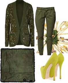 """glitter dark olive green jacket hijab set plus green yellow love heel"" by reyhan2030 on Polyvore"