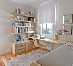 Kids Room: Catchy White Boys Bedroom Designed With Wooden Furniture Set On Laminate Floor Idea White Rug Wooden Desk Wooden Shelves White Wall White Ceiling: Inspiring Small Boy Room with Cool Bunk Bed Ideas