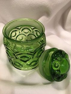 LE Smith Green Vintage Canister with Lid by WillowBendVintage