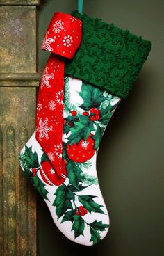 Holly Berries and Ornaments Christmas Stocking - Vintage Tablecloth and Chenille