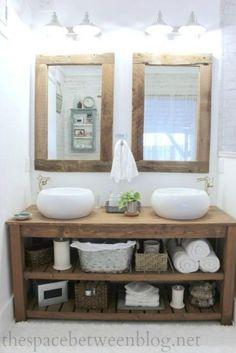 rustic master bathroom - the space between rustic bathroom vanity and mirrors - so many great details that feel like fall Rustic Master Bathroom, Rustic Bathroom Vanities, Rustic Bathrooms, Wood Bathroom, Bathroom Furniture, Diy Furniture, Bathroom Ideas, Design Bathroom, Ikea Bathroom