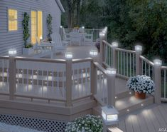 Perfect for deck stairs and walkways, Deckorators' low-voltage recessed, LED lights provide added safety. Pin lights in the stairs are awesome