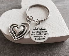 Marriage made you family love made you my daughter, Stepdaughter, Daughter of the Groom, Silver Keychain, Silver Keyring, Step son by SAjolie, $22.95 USD