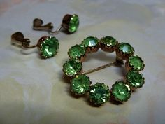 Vintage Brooch & Earring Set Green Rhinestones