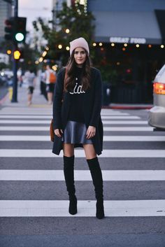 Ciao Bella Sweater | Zara grey Skirt | Over the Knee Boots | COS Oversized Sweater | Pink beanie