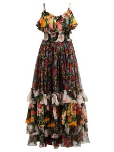 New Dolce Gabbana Floral-print tiered silk-chiffon gown Womens Dresses. Fashion is a popular style Floral Print Gowns, Printed Gowns, Floral Print Skirt, Floral Maxi Dress, Dress Up, Floral Prints, Rose Prints, Blouse Dress, Chiffon Gown