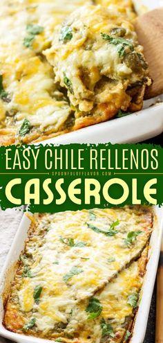 Mexican Dishes, Mexican Food Recipes, Vegetarian Recipes, Cooking Recipes, Mexican Meals, Cooking Tips, Stuffed Chili Relleno Recipe, Chile Relleno Casserole Recipe, Vegetarian Chili Relleno Recipe