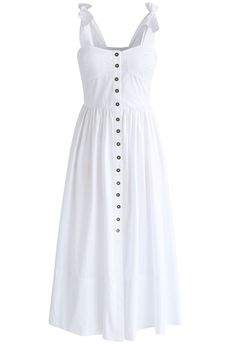 A shell white hue, button-down detail and bow-tie straps gives this dress an alluring girl-next-door vibe. Step out in chic mules and a vintage-esque crossbody bag for a boho-inspired look.  - Self-tie cami straps - Buttons through front - Padded bust - Elastic band on back - Not lined - 100% Polyester - Hand wash     Size(cm)Length   Bust   Waist   XXS       112      66-72   52-60 XS          113      70-76   56-64 S             113      74-80   60-68 M            114     78-84    64-72 L  …