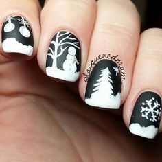 Winter nail design by @lacqueredmama Beauty & Personal Care - Makeup - Nails - Nail Art - winter nails colors - http://amzn.to/2lojz72