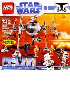 """Star Wars Exclusive Limited Edition Lego Set #7681 Separatist Spider Droid by LEGO. $144.50. Measures 6"""" (15cm) tall and 10"""" (27cm) wide!. Includes Commander FoxTM, Clone TrooperTM, Battle DroidTM, Super Battle DroidTM and Battle Droid CommanderTM minifigures!. 206 pieces. Conquer the galaxy, one planet at a time! Unleash the power of the Separatist Spider DroidT! This towering engine of mechanical destruction from the Clone Wars strides across hostile terrain on fou..."""