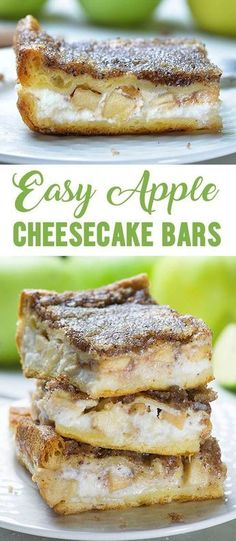 Easy Apple Cheesecake Bars is part of Apple dessert Easy - Easy Apple Cheesecake Bars are delicious fall dessert with crescent rolls, cream cheese, fresh apples and buttery cinnamon sugar topping Save leftovers for breakfast! Apple Cheesecake, Cheesecake Bars, Cheesecake Recipes, Cinnamon Cheesecake, Brownie Recipes, Apple Crescent Rolls, Cream Cheese Crescent Rolls, Dessert With Crescent Rolls, Apple Dessert Recipes