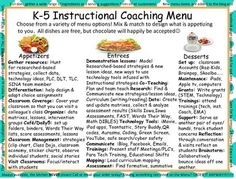 Advertising Your Role As An Instructional Coach: Advertising your new role is a VERY important part of starting out as an Instructional Coach! Start out with an Instructional Coaches Menu. Instructional Coaching, Instructional Strategies, Raz Kids, Math Coach, Co Teaching, School Leadership, Reading Specialist, Speech Activities, Rubrics
