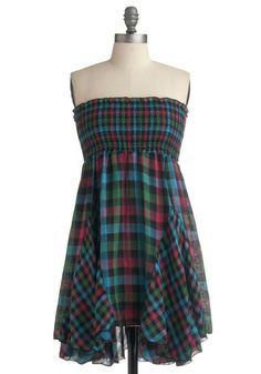 Modcloth Road trip Mixtape Dress: I love the idea of using two sizes of the same plaid to add zing to a dress #modcloth #dress #plaid