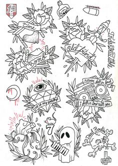 francomaldonado79:  Rancid Tattoo Flash  line work ready for this coming friday 13th!!!  color soon!