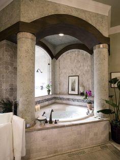 Bathroom Design Awesome And Beautiful Classic Corner Bathtub With Elegant Big Round Column Chic Wood Beam Small Luxury Bathrooms Ideas