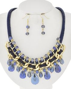 Blue or Grey Glass Necklace & Earrings Set