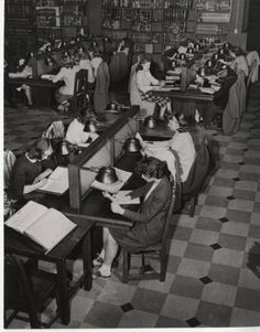 Black and white photograph depicting students sitting at study carrels in Williston Memorial Library reading room, circa Mount Holyoke College, Student Studying, Reading Room, African American History, Still Image, Digital Image, 1940s, The Past, Students