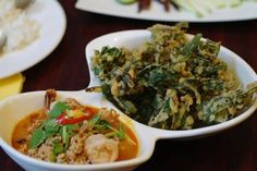 Le Bangkok, 195 Lonsdale St  Yum Pak Boong Krob (deep fried morning glory with pork and prawn tom yum curry sauce)