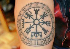 Image of Vegvisir Tattoo Viking Tattoo - Find Tattoos Online Viking Compass Tattoo, Viking Warrior Tattoos, Viking Tattoo Symbol, Norse Tattoo, Viking Tattoo Design, Original Tattoos, Viking Symbols, Viking Runes, Latest Tattoos
