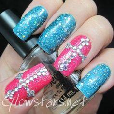 Hide from the mirror, the cracks and the memories #pink #blue #beadednails #partynails #shimmer #glitter #nails #nailart #nailpolish #naillacquer #polishaddict #cute - bellashoot.com #party #holidaynails #holidaybeauty