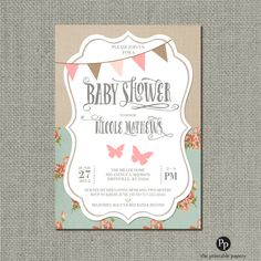 Printable baby shower invitation card flower bouquet babys printable baby shower invitation card shabby chic rustic butterfly bunting design floral linen vintage customize diy no sbl1 1 stopboris Choice Image