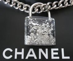 2014 CHANEL Padlock clear Runway necklace | From a unique collection of vintage chain necklaces at https://www.1stdibs.com/jewelry/necklaces/chain-necklaces/