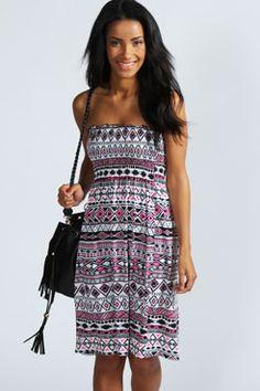 Jasmin Aztec Print Shirred Bandeau Dress at boohoo.com