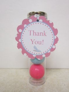 Princess Gumball Tubes With Tags  Set of 6  pink by DKDeleKtables, $13.50