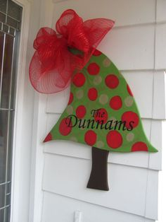 Christmas Door Decor Hand Painted Personalized by VintageShore, $42.00