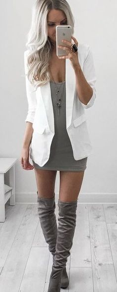 #summer #style | White Blazer on Gray Litle Dress