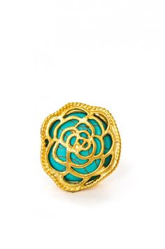 This 24kt Gold plated ring with a gorgeous Turquoise base will elegantly compliment your neatly manicured nails  *please note that rings are slightly flexible and can be adjusted to desired size