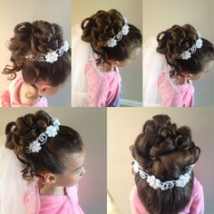 Gorgeous First Communion Hairstyles for Girls Girls Updo, Cute Girls Hairstyles, Flower Girl Hairstyles, Wedding Hairstyles, Kids Hairstyle, Hairstyles Pictures, First Communion Veils, Holy Communion Dresses, Communion Hairstyles