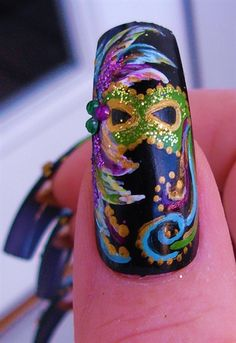 Mardi Gras Mask close-up - Nail Art Gallery nailartgallery.nailsmag.com by NAILS Magazine nailsmag.com #nailart